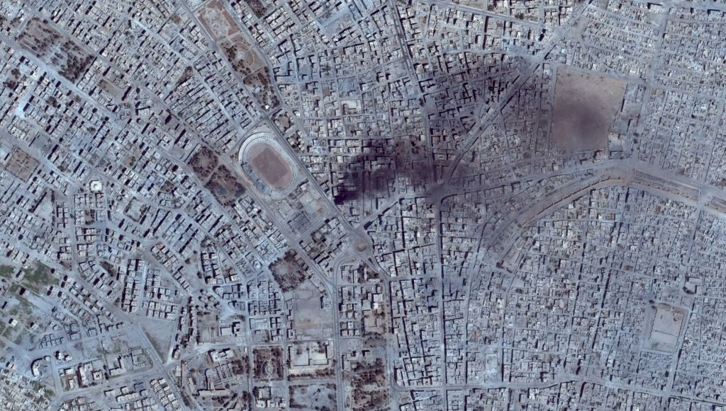 Airstrike seen on satellite imagery in Raqqa 7 aug 2017 by Google Earth
