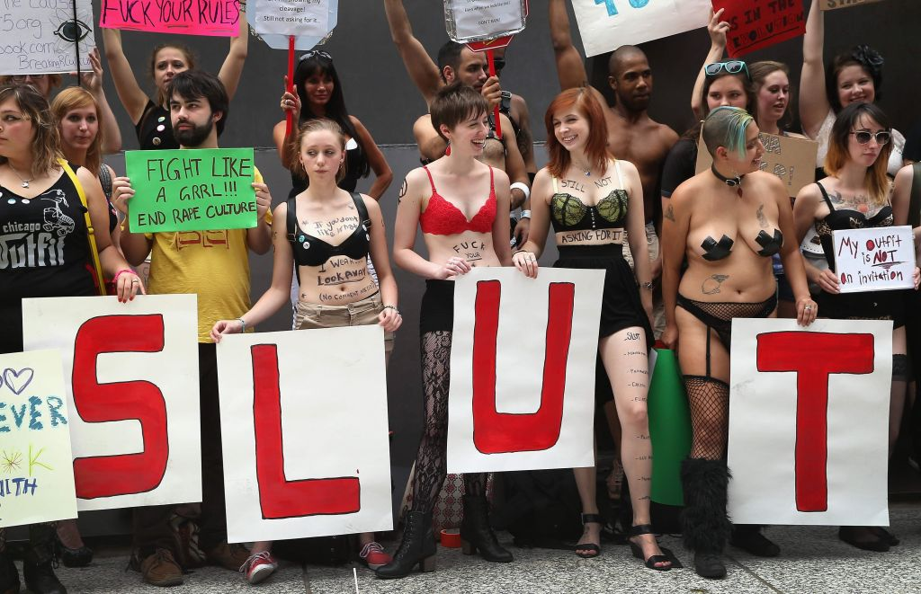 Protesters at a Chicago Slutwalk demonstration in 2013 (Scott Olson/Getty Images)